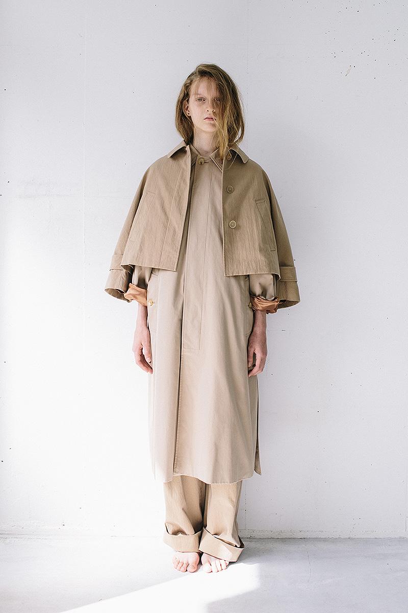 soutien collar coat / short soutien collar jacket / wide chino pants