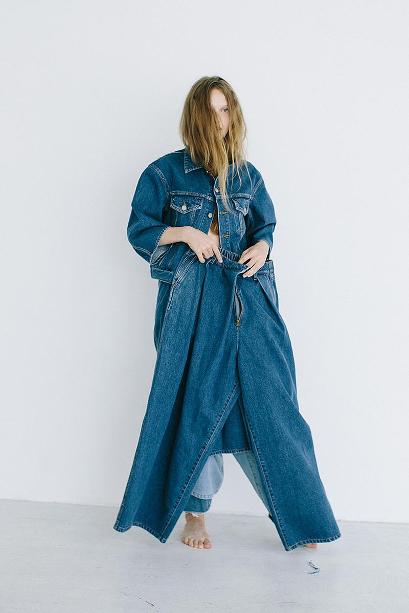 jean jacket / cutoff denim / denim skirt / wide denim