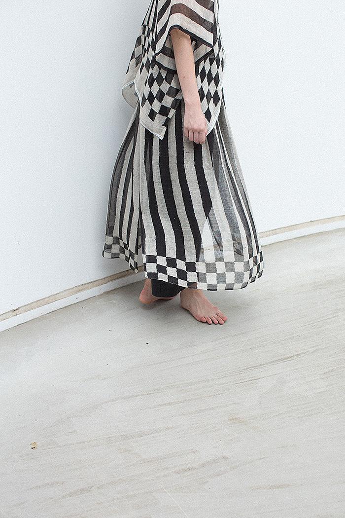 stripe & checker pattern pullover / skirt / pants