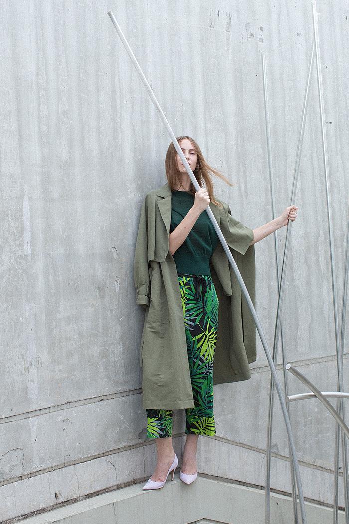 3way coat / back open knit / leaf pattern pants